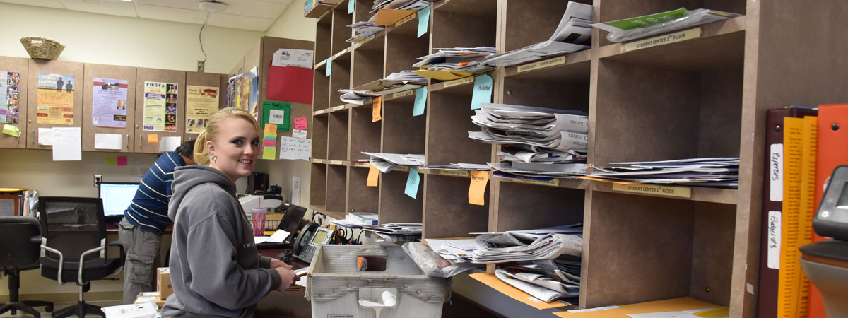 Post Office student worker organizing mail