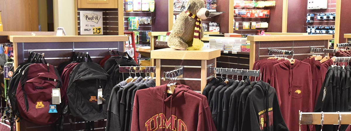 UMC Bookstore view of clothing, office supplies and backpacks