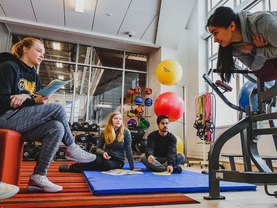 students in wellness center