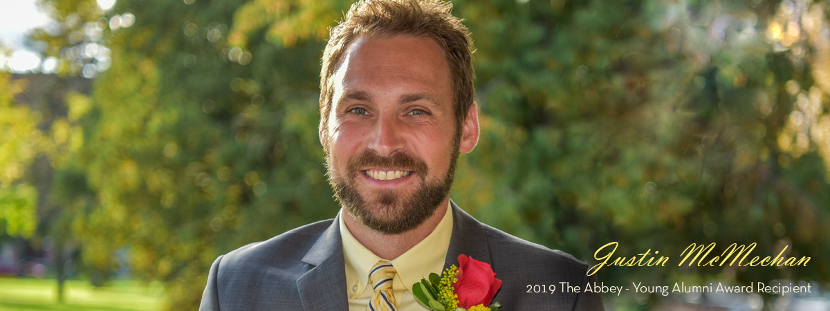 Photo of Justin McMechan the 2019 Abbey Young Alumni Award Recipient