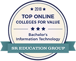 """""""Top Online Colleges Offering Information Technology Degrees"""" for 2018 by SR Education Group's Guide to Online Schools Award Badge"""