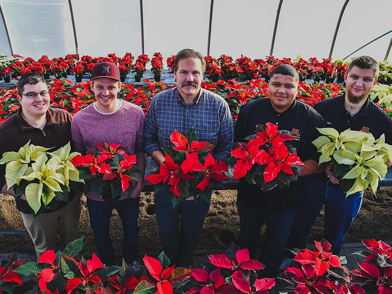 Students standing with faculty in the UMC Greenhouses with poinsettias