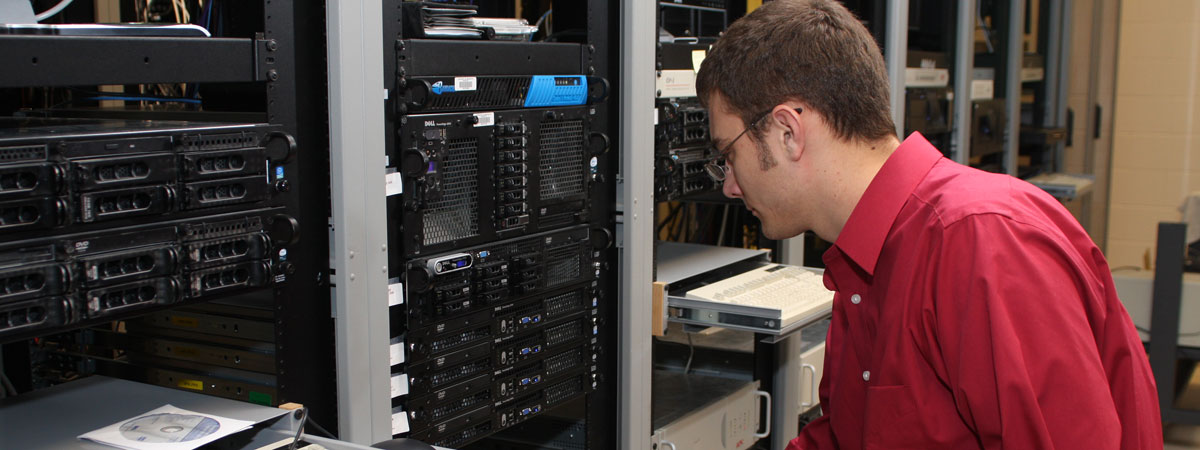 Student working in the server room