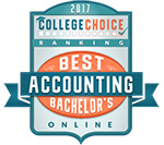 """""""Best Online Bachelor's in Accounting Degrees"""" by College Choice Award Badge"""