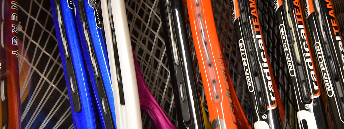 Tennis rackets available to rent.