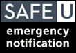 Get University of Minnesota Emergency Text Notifications through SAFE-U. Click the logo to get more information.