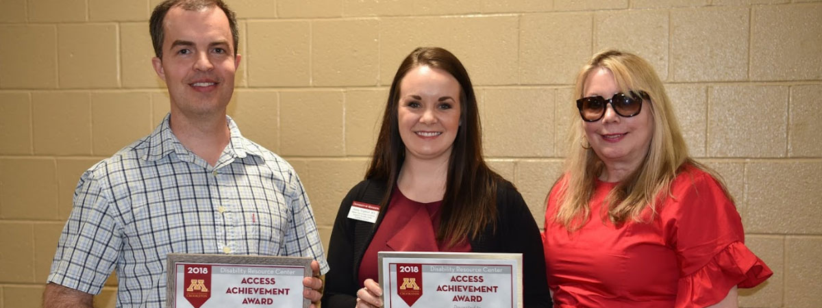 Matthew Simmons & Kelsey Torgerson, 2018 award recipients and Gail Myers, presenter.