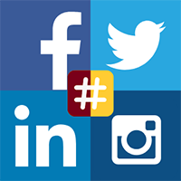 Facebook, Twitter, LinkedIn, Instagram logos with a maroon and gold hashtag in the middle