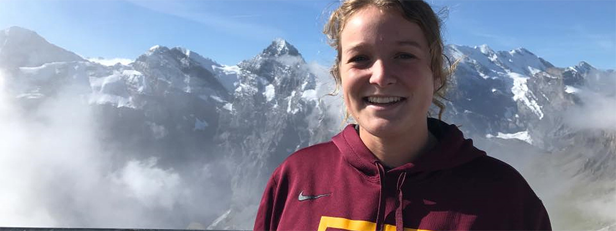 Student high in the mountains on a learning abroad trip.