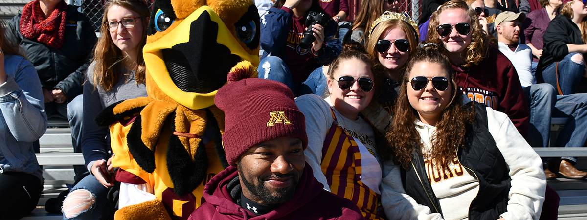 Fans at the Homecoming 2019 game with Regal the Eagle