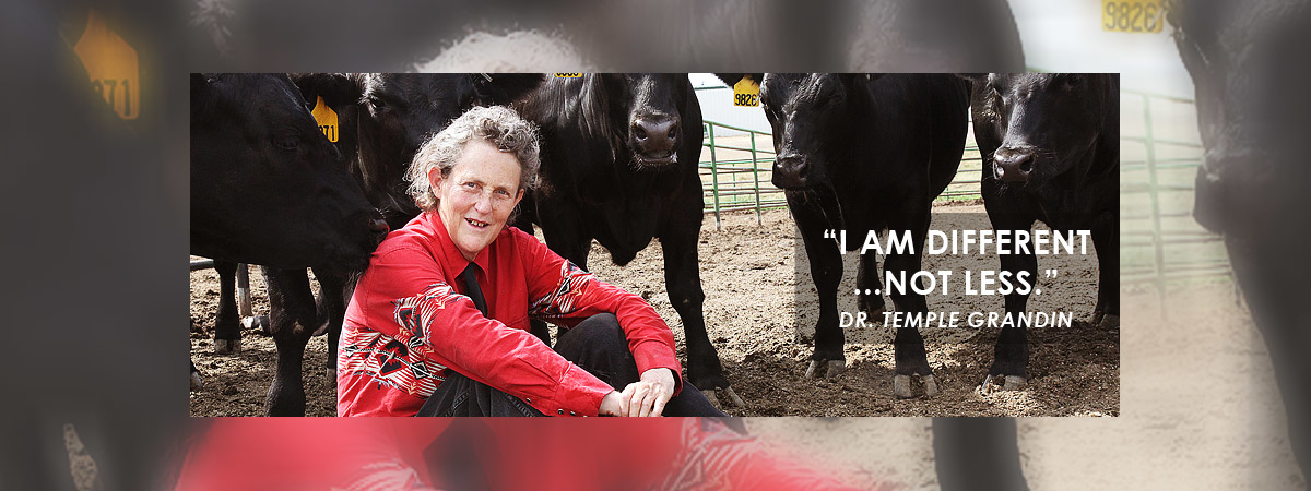 "Dr. Temple Grandin sitting amongst cows with a quote - ""I am different...not less."""