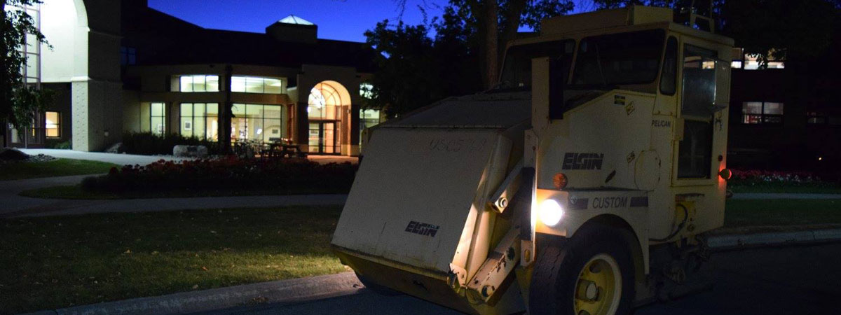 Night sweeper sweeping UMC roads